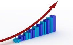 Bedrijfs grafiek met net Stock Foto