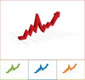 Bedrijfs Grafiek met omhoog Pijl Royalty-vrije Stock Foto