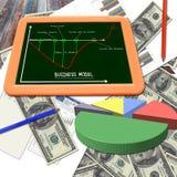 Bedrijfs grafiek op de dollars en het bord Royalty-vrije Stock Afbeeldingen