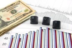 Bedrijfs Grafieken met BUY royalty-vrije stock foto's