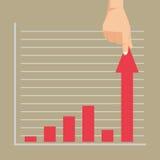 Bedrijfs grafische skips de crisis met een sprong op positieve stat Royalty-vrije Stock Foto's