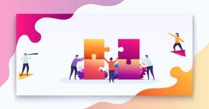 Bedrijfs groepswerkconcept Het team van mensen verbindt delen van raadsels, doel om te denken, economisch besluit royalty-vrije illustratie