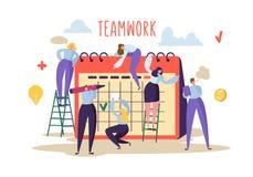 Bedrijfs groepswerkconcept Vlakke Mensenkarakters en Planningsprogramma die aan Bureaukalender samenwerken royalty-vrije illustratie