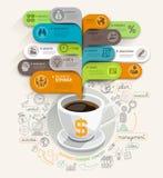 Bedrijfs het denken concept Koffiekop en het malplaatje van de bellentoespraak Royalty-vrije Stock Foto's