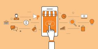 Bedrijfs het mobiele online winkelen en e-op de markt brengt