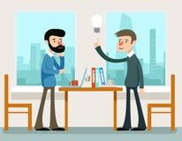 Bedrijfs Idee Zakenlieden die strategie bespreken die zich bij bureau bevinden royalty-vrije illustratie