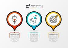 Bedrijfs infographic chronologieconcept met 3 stappen Vector royalty-vrije illustratie