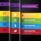 Bedrijfs infographic kleurrijke leer zwarte achtergrond Stock Foto