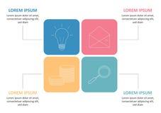 Bedrijfs infographic malplaatje Chronologie met 4 opties, stappen, cirkel Vector illustratie Kan voor werkschemadiagram worden ge vector illustratie