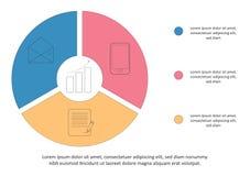 Bedrijfs infographic malplaatje Chronologie met 3 opties, stappen, cirkel Vector illustratie Kan voor werkschemadiagram worden ge stock illustratie