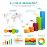 Bedrijfs infographic vectormalplaatje met 3d grafiek, grafieken en diagrammen Het financiële concept van de gegevensvisualisatie Royalty-vrije Illustratie
