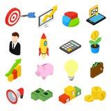 Bedrijfs isometrische geplaatste pictogrammen Stock Fotografie