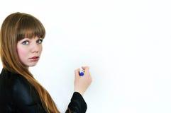 Bedrijfs jonge vrouw met pan Royalty-vrije Stock Foto