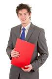Bedrijfs kerel met een klembord Stock Afbeelding
