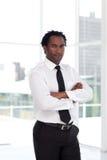 Bedrijfs leider met Gevouwen wapens Royalty-vrije Stock Foto