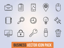 Bedrijfs lineaire geplaatste pictogrammen royalty-vrije stock afbeelding