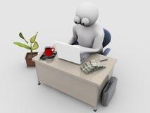 Bedrijfs mens bij work_3 Royalty-vrije Stock Fotografie