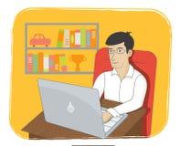 Bedrijfs mens die aan laptop werkt Online zaken Royalty-vrije Stock Fotografie
