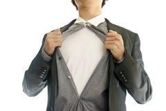 Bedrijfs mens die binnen van zijn kostuum toont Royalty-vrije Stock Afbeelding