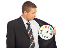 Bedrijfs mens die de tijd controleert Stock Fotografie