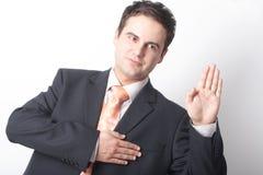 Bedrijfs mens die de waarheid vertelt Stock Foto's