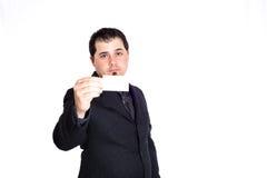 Bedrijfs mens die lege kaart houdt Royalty-vrije Stock Fotografie