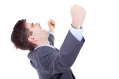 Bedrijfs mens die luid schreeuwt stock foto's