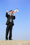 Bedrijfs mens die megafoon met behulp van Royalty-vrije Stock Fotografie