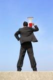 Bedrijfs mens die megafoon met behulp van Royalty-vrije Stock Foto's