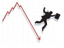 Bedrijfs Mens die neer met Economie valt Royalty-vrije Stock Fotografie