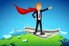 Bedrijfs Mens die op Dollar vliegt Stock Foto