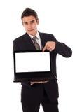 Bedrijfs mens die op laptop richt Royalty-vrije Stock Afbeelding