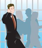 Bedrijfs Mens die op Mobiel spreekt Stock Foto's