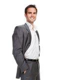Bedrijfs mens die over witte achtergrond wordt geïsoleerdj Royalty-vrije Stock Foto