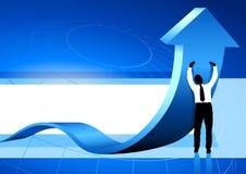 Bedrijfs Mens die pijl blauwe achtergrond steunt stock illustratie