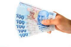 Bedrijfs mens die Turkse Lire houden Royalty-vrije Stock Afbeelding