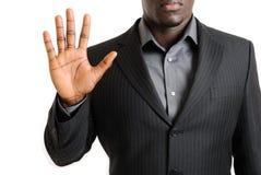 Bedrijfs mens die zijn palm toont stock afbeeldingen