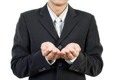 Bedrijfs mens en handen het houden Stock Afbeeldingen