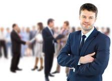 Bedrijfs mens en zijn team Stock Foto