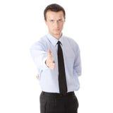 Bedrijfs mens klaar om een overeenkomst te plaatsen Royalty-vrije Stock Fotografie