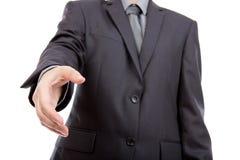 Bedrijfs mens klaar om een overeenkomst te plaatsen. royalty-vrije stock afbeelding