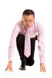Bedrijfs mens klaar te rennen Royalty-vrije Stock Foto
