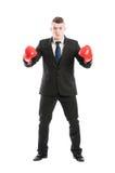 Bedrijfs mens klaar te vechten Stock Foto's