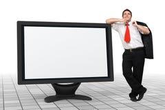 Bedrijfs mens - lege monitor - presentatie Stock Afbeeldingen