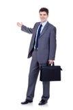 Bedrijfs mens met aktentas het voorstellen Stock Afbeeldingen
