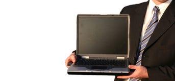 Bedrijfs mens met computer Royalty-vrije Stock Foto