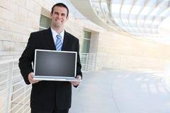 Bedrijfs Mens met Computer Stock Foto's