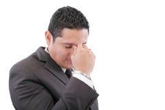 Bedrijfs mens met een hoofdpijn Stock Foto's