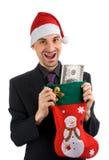 Bedrijfs mens met een Kous van Kerstmis Stock Fotografie