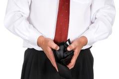 Bedrijfs mens met een lege portefeuille Stock Afbeeldingen